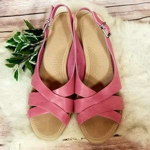 Ugg Pink Leather Kenedy Strappy Wedge Sandal